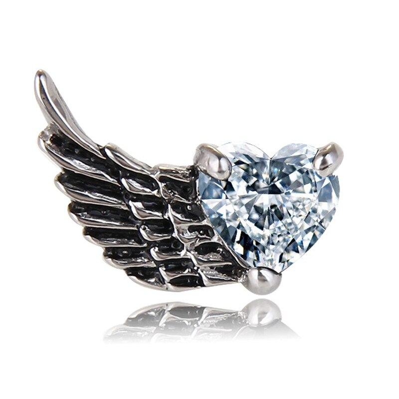 Vintage Punk Style Angel Wings Stud Earrings For Women Men Antique Silver Color Heart Shape Crystal Earrings Brincos Jewelry