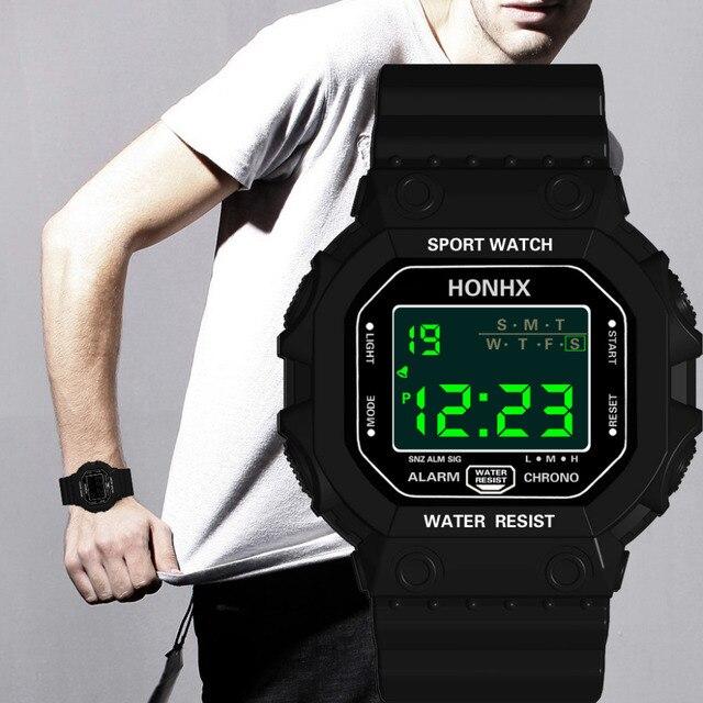Esporte das Mulheres dos homens Led Relógio Digital Relógio Anel da Mão Levou Esportes Relógio Eletrônico de Moda Relógio Eletrônico de Silicone Relogio # UMA