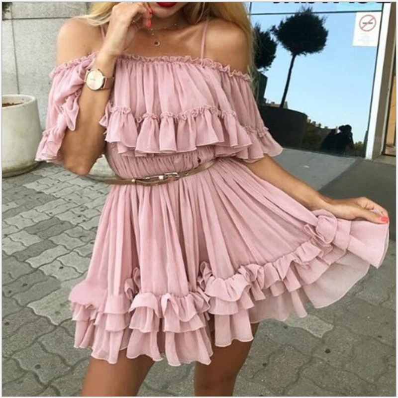Chiffon Dresses Women Ruffle Pleated Off Shoulder Summer Dress  Elegant Holiday Loose Beach Mini Dress Vestidos R138
