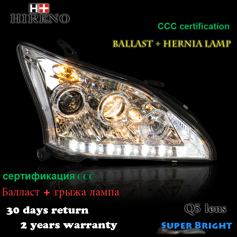 Hireno Headlamp for 2004-2009 Lexus RX350 Headlight Assembly LED DRL Angel Lens Double Beam HID Xenon 2pcs 2pcs purple blue red green led demon eyes for bixenon projector lens hella5 q5 2 5inch and 3 0inch headlight angel devil demon