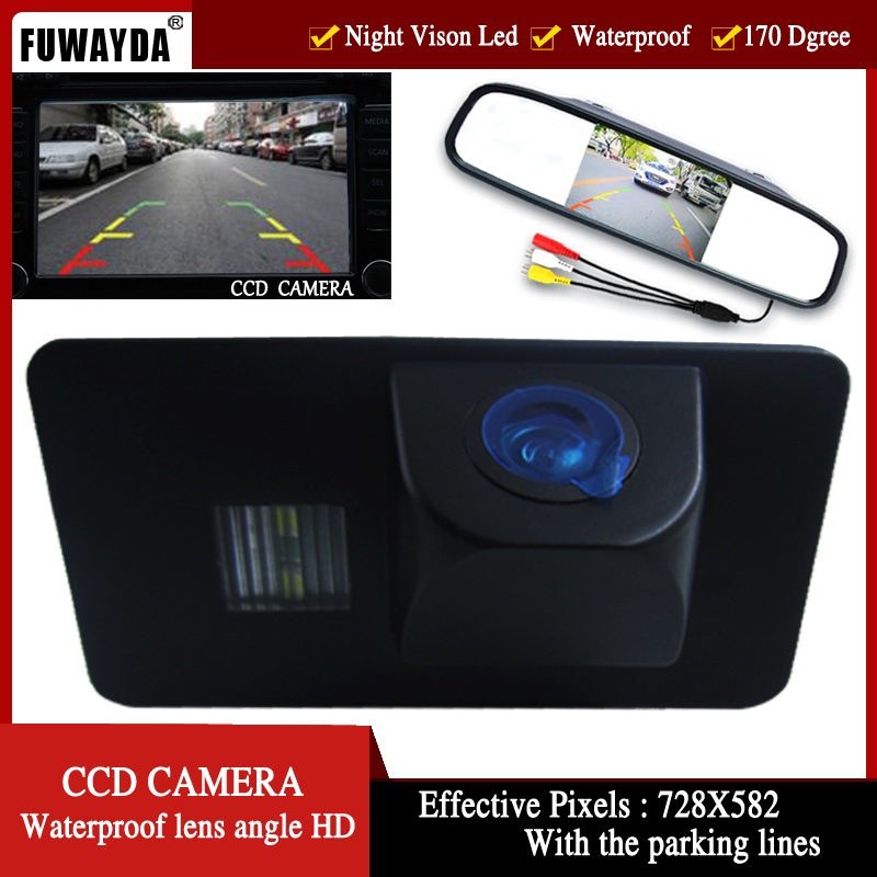 FUWAYDA CCD Car Rear View Camera for BMW E81 E87 E90 E91 E92 E60 E61 E62 E63 E64 X5 X6 with 4.3 Inch Rear view Mirror Monitor plusobd car recorder rearview mirror camera hd dvr for bmw x1 e90 e91 e87 e84 car black box 1080p with g sensor loop recording