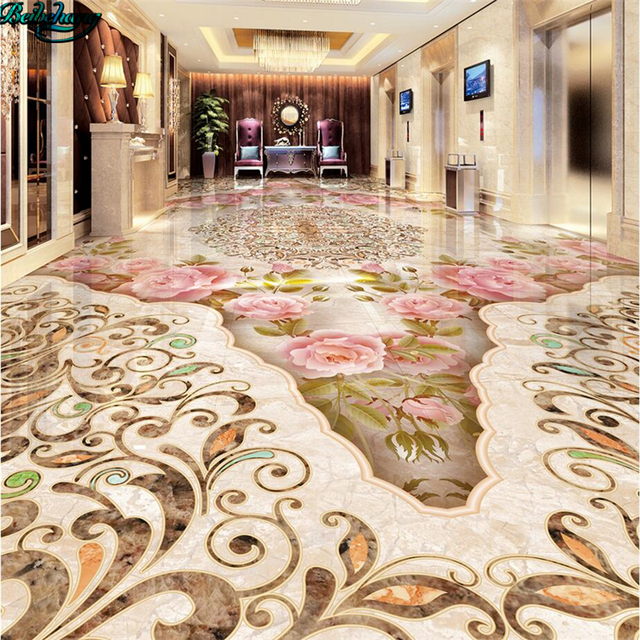 Beibehang Large Custom Stone Pattern Parquet Marble Texture Floor Tile 3D Tiles Decorative Painting