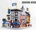 Nuevo 4 set/lote Legoe CITY Mini Modular Calle Escena Hotel Holiday Legoe Barbería Compatible con luces de ladrillos bloques juguetes para niños