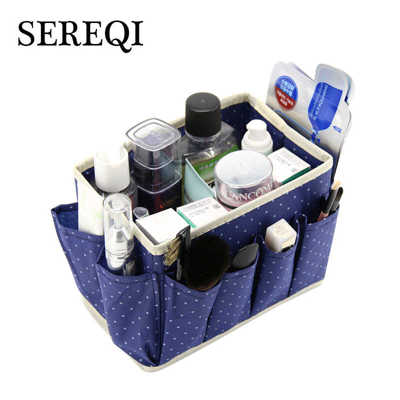 SEREQI New Dot Pattern Bag in Bag Non-Woven Foldable Cosmetic Storage Box With 8 Pockets Sundry Boxes Makeup Bag Organizer