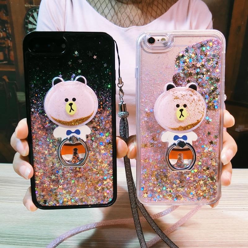 Носки с рисунком медведя из мультика динамический Блеск Жидкость зыбучие пески Мягкие TPU телефон чехол для iPhone 6 6 S 7 8 плюс Чехол Coque с держате…