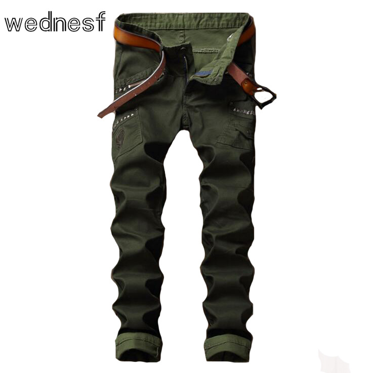 ФОТО #1957 2017 Mens skinny Military Army green jeans for men Motorcycle Hip hop jeans Punk jeans for men Rivet Slim fit Moto jeans