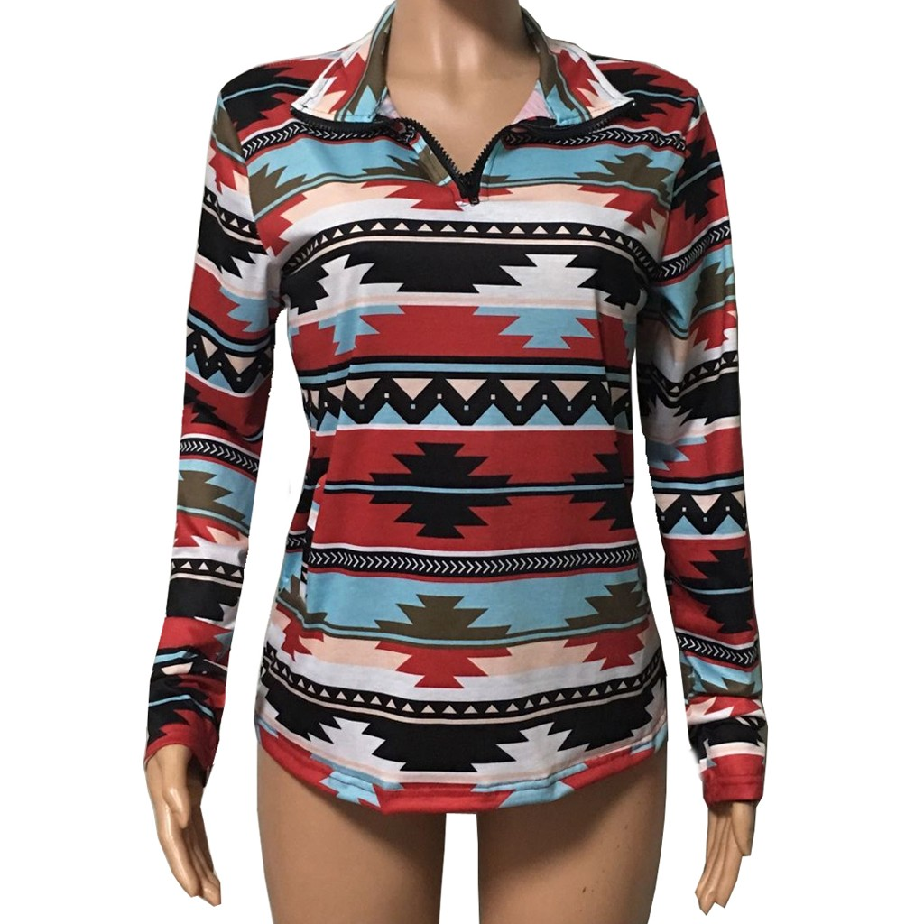 African Style Tribal Geometric Womens Long Sleeve Letter Print Casual Sweatshirt Crop Top Hoodies