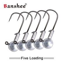 цена на Banshee 5pcs/lot Fishhook 1g/2g/5g/7g/14g/20g Jighead Tungsten Jigs Hooks Fishing Jig Head For Fishing Jig Head Hook Soft Lure