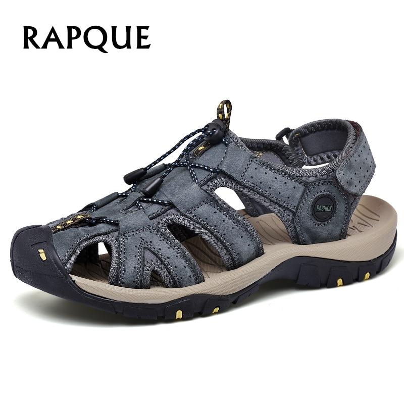 Mens Sandals men shoes cow letaher sandal summer top quality zapatos sandalias hombre Casual antiskid shoe durabrasion rubber