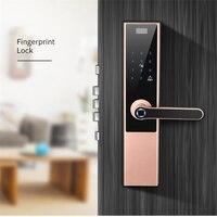 Keyless Entry Fingerprint Türschloss Aluminium Legierung Anti diebstahl Smart Passwort Elektronische Schloss Mit Tür Glocke Für Haus-in Türschlösser aus Heimwerkerbedarf bei