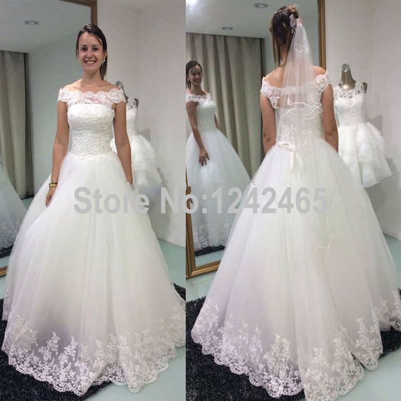 Ball Gown Off Shoulder Wedding Dress Floor Length Lace Up Back Soft ...