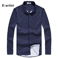 E-artist Men's Slim Fit Casual Floral Print Button Down Shirts Double Mercerized Cotton Long Sleeve Tops Plus Size 5XL C65