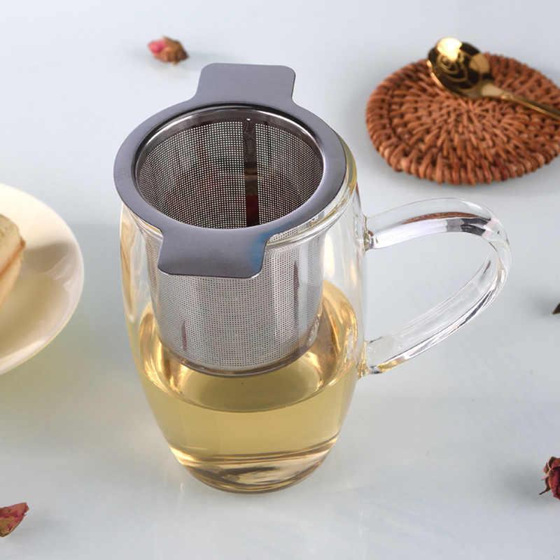 Tampa do chá e Café Fino Filtros Reutilizável de Aço Inoxidável Coador de Chá Coador de Chá Infusor De Chá de Malha Cesta com Alças 2