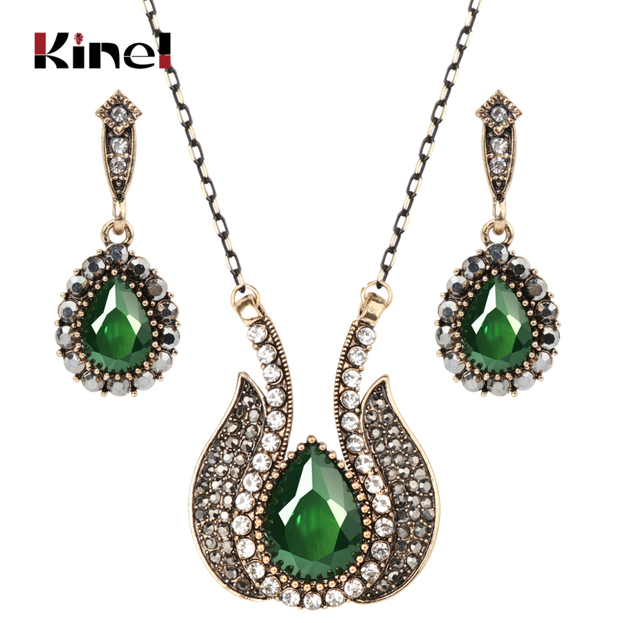 Kinel Drop Shipping Fashion Turkish Jewelry Set Antique Gold Black Crystal Necklace And Earrings For Women Vintage Jewelry Sets blucome vintage water drop green crystal jewelry sets for women party accessories turkish bronze color bangle ring earrings set