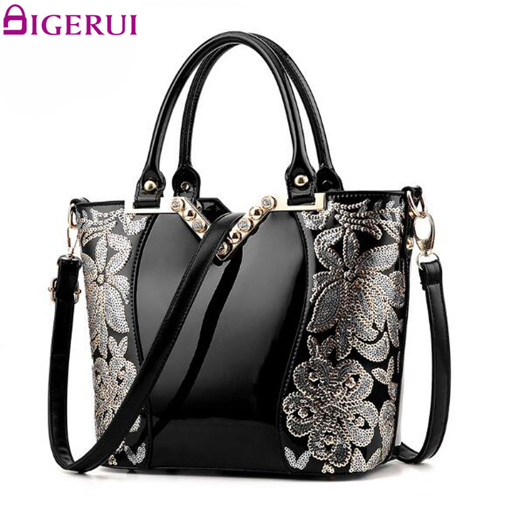 DIGERUI Fashion Women Bag Luxury Patent Leather Famous Brands Designer Handbag Sequin Embroidery Women Messenger Bags A845 luxury women bag new 2017 europe fashion sequin embroidery patent leather famous brands designer handbag women messenger bags