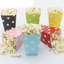 12pcs/lot Mini Colorful Popcorn Boxes Paper Candy Favor Bags Birthday Wedding Gi
