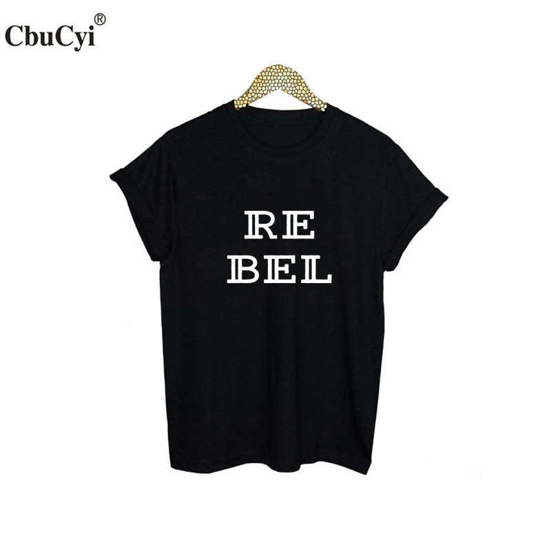 Shop2947210 Store Rebel T-Shirt Funny Punk Rock Street Hipster Tee Shirt Femme Black White T Shirt Fashion Harajuku Women Clothing