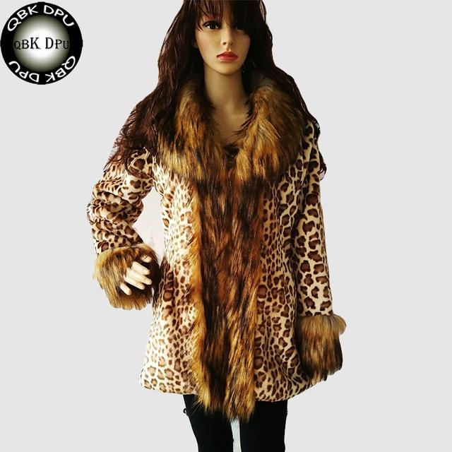 4dab9cb48 US $139.4  QBKDPU 2017 warm plus size 5XL fur coat Winter winter women Sexy  Leopard Print faux fur coat Luxurious slim warm fox fur jacket-in Faux Fur  ...