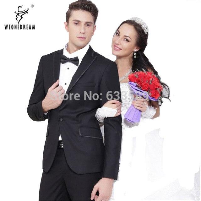 899d09e6be08 € 84.08  (Chaqueta + Pantalones) 2018 estilo occidental negro color hombres  negocios Trajes marca Boss vestido traje para la boda y los hombres de ...