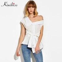 Kinikiss Female Spring Asymmetric Women Blouse 2017 White Oblique Collar Female Short Sleeve Shirt Lace Up