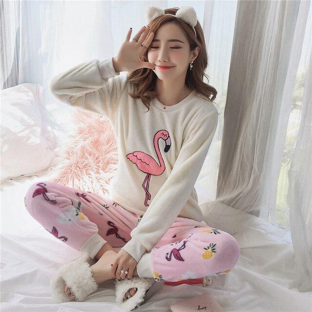 JRMISSLI Flamingo Girl Pajama Sets 2018 Winter Flannel Warm Pyjamas Women  Homewear Womens Pajamas Set Female Pajama Sets 92d8b02d87