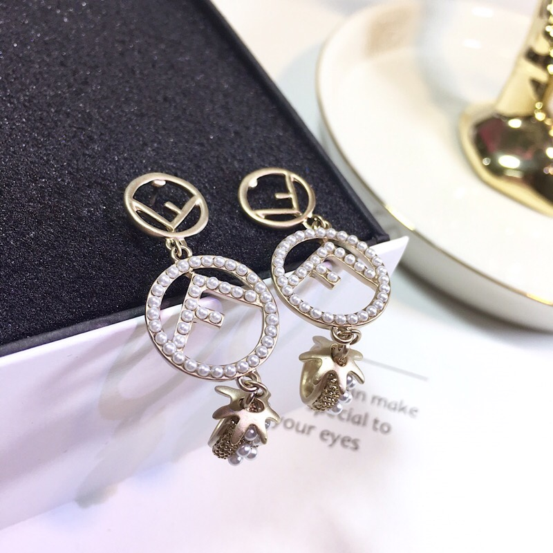 Hot designer famous brand jewelry innitial letter earrings silver gold color bead ball pearl long drop earrings girl gift