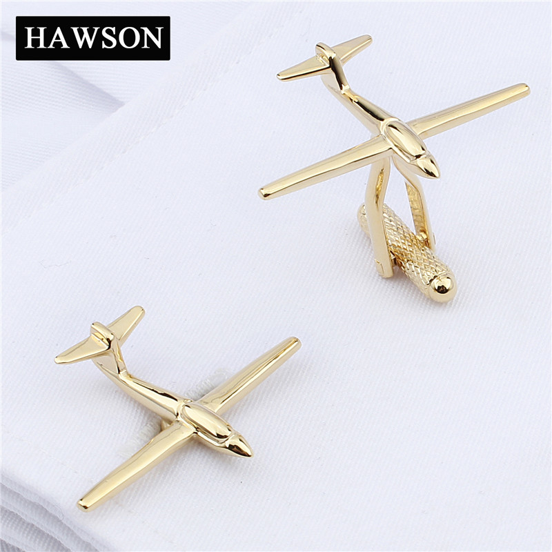 HAWSON Funny Jewelry Airplane Cuff links High Quality Gold-Color Novelty Cufflinks for Mens Shirt
