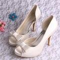 Белый красный черный пип-ноги с бантом высок-пятки женская обувь свадебные атласная кружева туфли на высоком каблуке