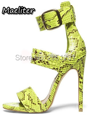 Big Buckle Decor Python Print Sexy Women Sandals 2017 High Heels Stiletto Open Toe Women Pumps Summer Ladies Party Shoes Woman brand new stiletto high heels sandals gladiator women sexy platform rome style shoes summer ladies open toe buckle pumps fashion