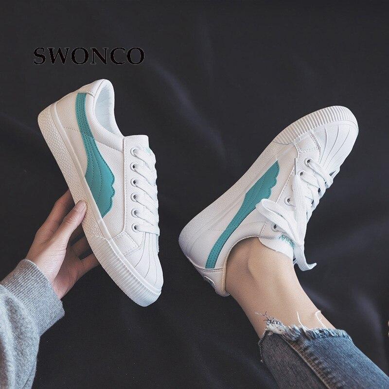 Sneakers Lace Up De Caoutchouc Blanc white Femme Casual 2019 Automne yellow Blue Semelle Femmes Swonco Plates Printemps Cuir Chaussures En 4qnSqxv