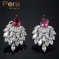 Luxo Famosa Marca de Jóias Mulheres Do Partido Da Folha Da Queda no Vento Design Vermelho E Branco Cubic Zirconia Cristal Brincos Grande Queda E052