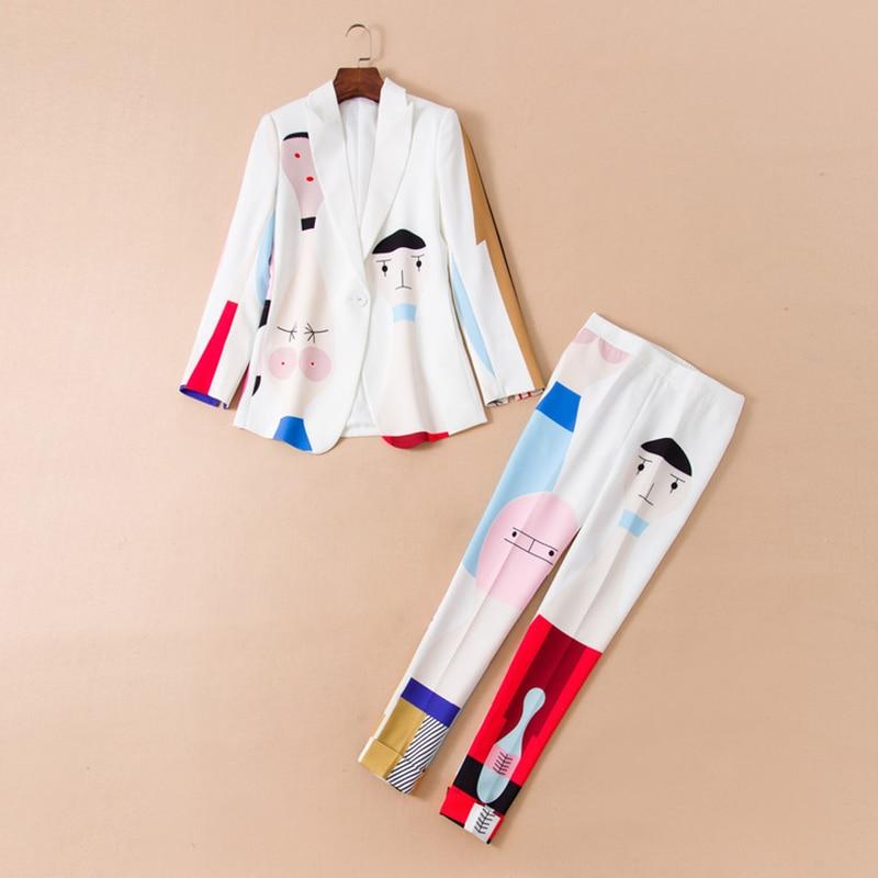 Kadın Giyim'ten Kadın Setleri'de YÜKSEK KALITE Yeni Moda 2019 Deesigner Pist Takım Seti Kadın Sevimli Baskılı Blazer Pantolon Takım Elbise'da  Grup 1