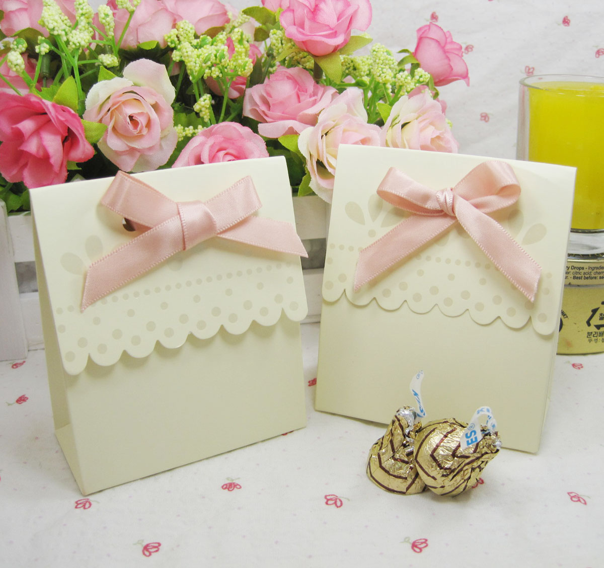 Ivory cream color wedding favor box with pink ribbon 50PCS/LOT Party ...