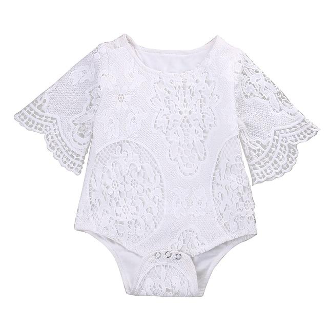 Leuke Baby Meisjes Wit Kant Ruches Mouwen Romper Baby Kant Jumpsuit Kleren Sunsuit Outfits