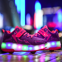 New Boy & Girls Light Roller Shoes With Wheels LED Fashion Kids Flash Sneakers Breathabale Sport Casual For Children Size 29 40