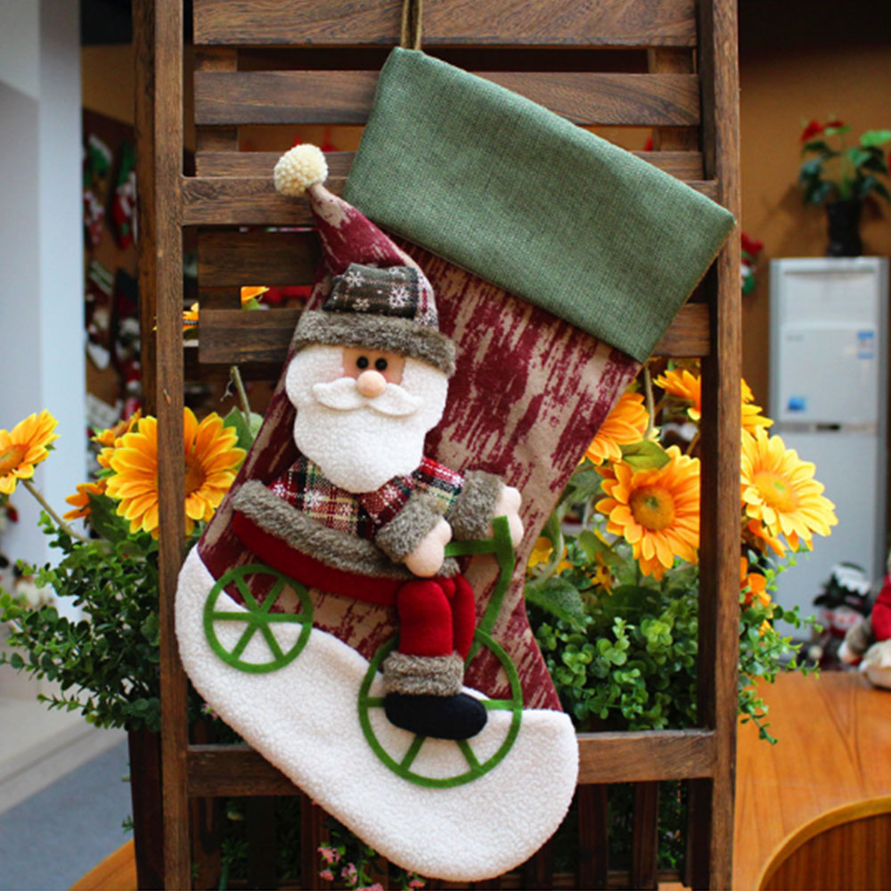 New Year Decorations Christmas Stockings Decoration Gifts Bag Santa Claus Snowman Candy Box Navidad Adornos in Stockings Gift Holders from Home Garden