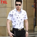 Large size thin fat flower shirt short sleeved shirt printing business men crowd fat male male half sleeve