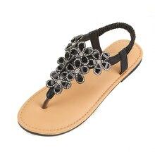 Summer Luxury Designer Rhinestone Sandals Women Flat Shoes Diamond 2019 Fashion Bling Beach Sandals Black Silver Gold Sandles