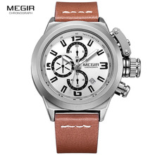Megir Mens Watch Fashion Chronograph Luminous Quartz Wristwatch Casual Leather Waterproof Analog Watch with Calendar for
