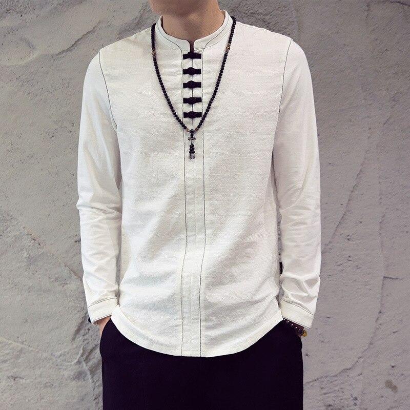 Men Cotton Linen Pullover Shirts Long Sleeve Chinese Style Kung Fu Tai Chi Custume Retro Mandarin Collar Tang Suit Male TS-333