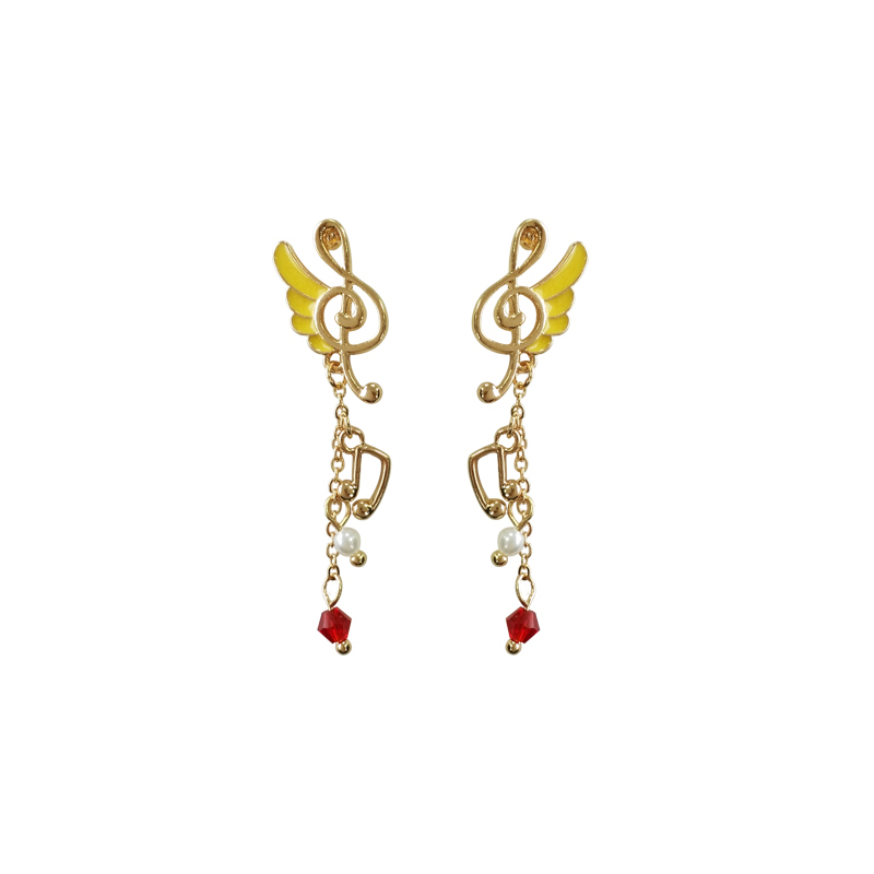 2017 autumn and winter Japan and South Korea sweet and creative music symbol flying wings girl dream long cute earrings