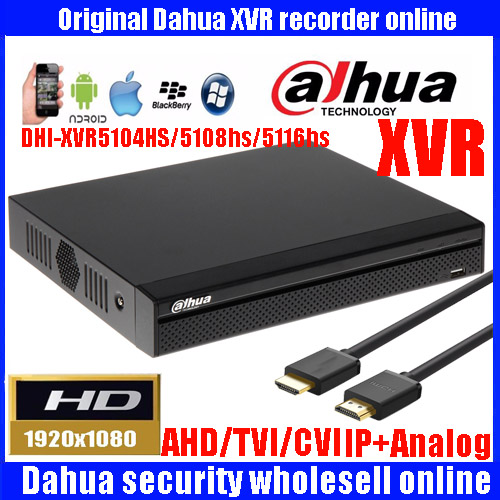 Mutil language Dahua XVR video recorder XVR5104HS XVR5108HS XVR5116HS 4ch 8ch 16ch 1080P Support HDCVI/ AHD/TVI/CVBS/IP Camera