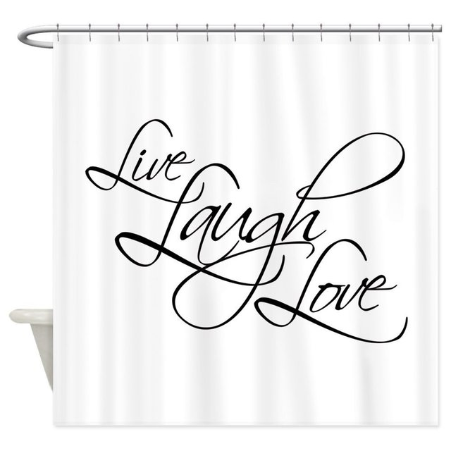 Live Laugh Love Decorative Fabric Shower Curtain For The Bathroom With 12 Hooks