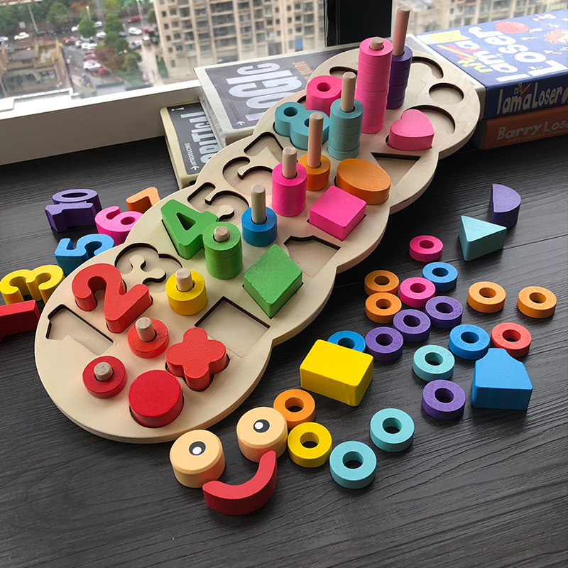 Image 4 - Children Wooden Toys Montessori Materials Learn To Count Numbers Matching Digital Shape Match Early Education Teaching Math Toys-in Wooden Blocks from Toys & Hobbies