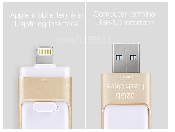 Unidade de armazenamento de unidade flash usb quente para iphone 16g 32g 64 gb 128 GB 256 GB 512 GB stick usb OTG Pen drive U Disco de memória vara