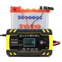 FOXSUR 12V 24V 8A impuls naprawy ładowarka z wyświetlaczem LCD, do motocykli i samochodów ładowarka baterii, AGM Akumulator żelowy do pracy cyklicznej kwasowo ołowiowych ładowarka