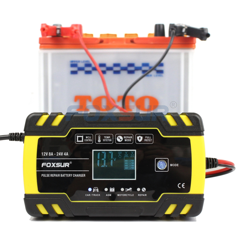 FOXSUR 12V 24V 8A Pulse Repair Charger with LCD Display, Motorcycle & Car Battery Charger, AGM Deep cycle GEL Lead Acid Charger