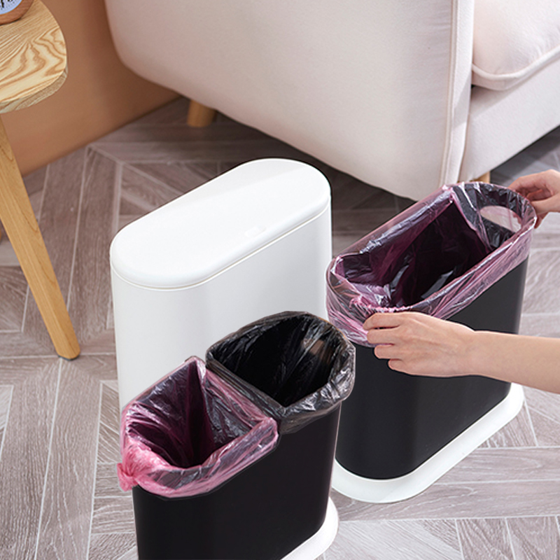 Trash Cans For The Kitchen Bathroom WC Garbage Classification Plastic Rubbish Bin Dustbin Bucket Pressing Type Zero Waste Bin