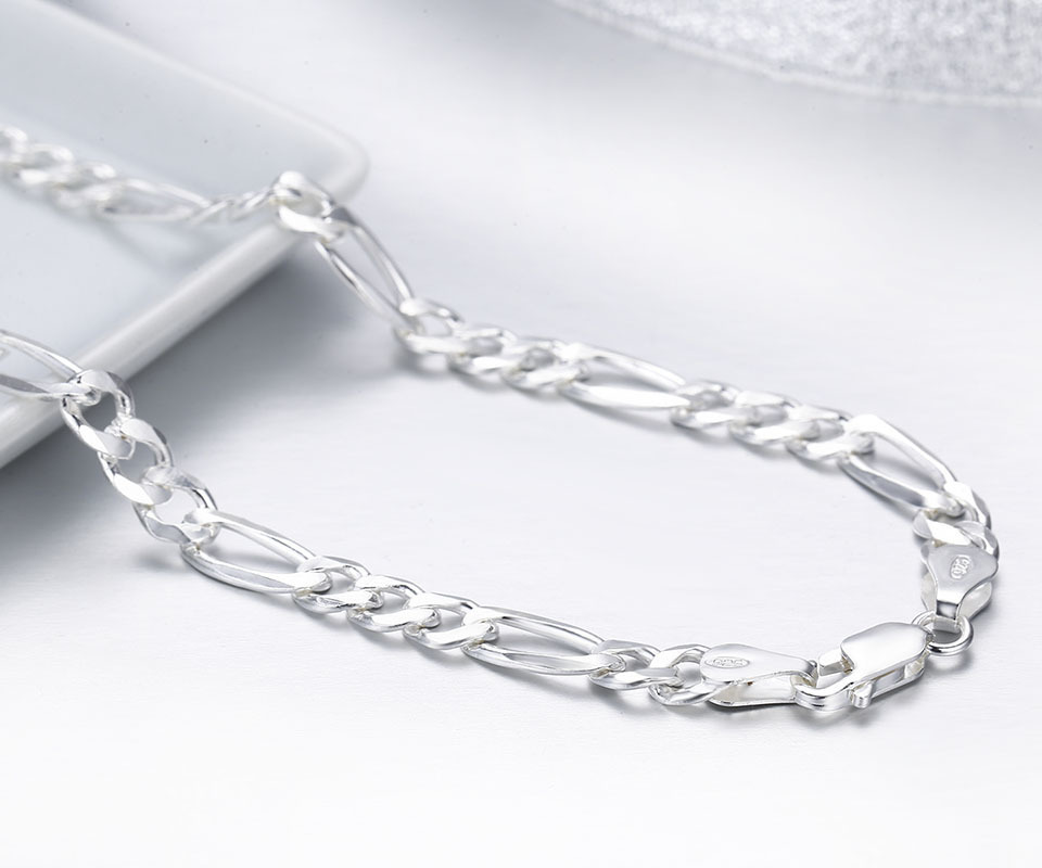 20 Quot 24 Quot Pure Real 925 Sterling Silver Figaro Chains
