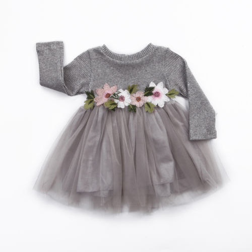 1PC Flower Girls Autumn Winter Knitted Dresses Cute Infant Baby Girl Long Sleeve Pink White White Tutu Ball Gown Dress 0-3Y lily rosie girl pink knitted sexy split women sweater dresses long sleeve mini bodycon dress 2017 autumn winter party vestidos